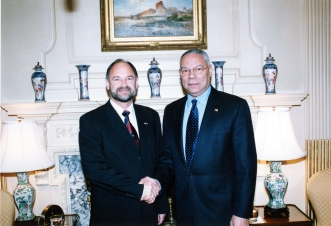 Former Liechtenstein Foreign Minister Dr. Ernst Walch with former US Secretary of State, Colin Powell.