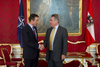NATO Secretary General Anders Fogh Rasmussen meets with the President of Austria, Heinz Fischer.
