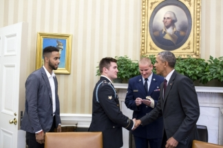 President Obama welcomes the US Heroes