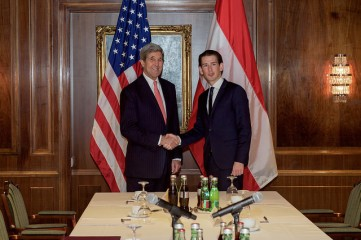 Secretary Kerry Shakes Hands With Austrian Foreign Minister Kurz 2015
