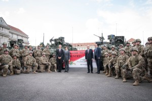 NATO Secretary General Jens Stoltenberg, the US Ambassador to the Czech Republic, Andrew H. Shapiro, the Prime Minister of the Czech Republic, Bohuslav Sobotka and the Minister of Defence of the Czech Republic, Martin Stropnicky with soldiers of the US military convoy
