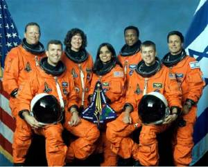 Col. Ilan Ramon with NASA Space crew in the Shuttle Columbia mission 2003.