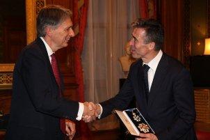 Foreign Secretary Philip Hammond with NATO Secretary Anders Fogh Rasmussen Nov. 2015