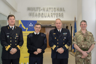 General Martin Smith MBE, Rear Admiral Jan Thoernqvist Deputy Commander of the EU Naval Force Rear Admiral Paolo Pezzutti, Deputy Chief of Staff from NATO Commondore Arian Minderhoud 2015