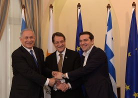PM Netanyahu, President of Cyprus Anastasiades and Greek PM Tsipras 2016