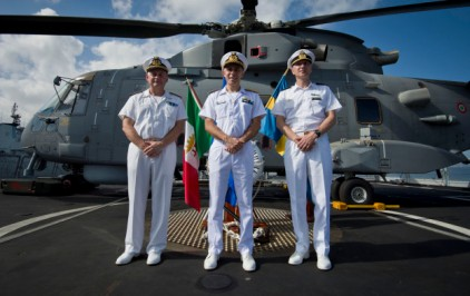 Rear Admiral Guido Rando, Deputy Commander of the EU Naval Force Rear, Admiral Paolo Pezzutti And The New Force Commander Rear Admiral Jonas Haggren, 2015 EUNAVFOR