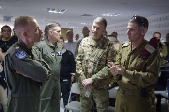 Lt Gen William Garret and Maj Gen Yair Golan speaking with Air-Force offices during the Exercise Feb.25 2016, US COM Europe