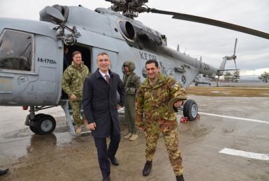 NATO Secretary General Jens Stoltenberg and Major General Francesco Paolo Figliuolo, Commander KFOR