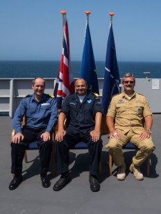 Force Commanders from Combined Maritime Forces, Commodore Jeremy Blunden, the EU Naval Force, Commodore Peter Lenselink and NATO, Commodore Henning Amundsen, on board the EU Naval Force flagship, HNLMS Johan de Witt. 2013