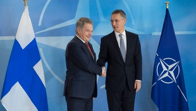 NATO Secretary General Jens Stoltenberg welcomes the President of the Republic of Finland, Sauli Niinisto at NATO headquarters